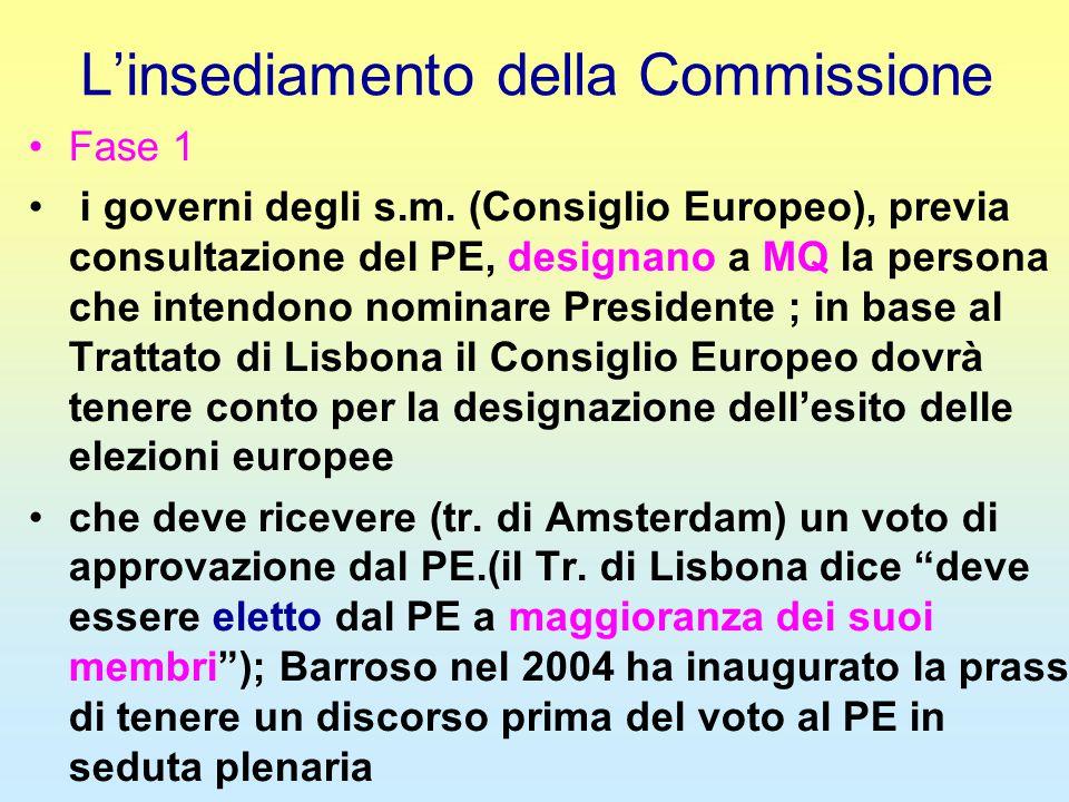 L'insediamento della Commissione Fase 1 i governi degli s.m. (Consiglio Europeo), previa consultazione del PE, designano a MQ la persona che intendono