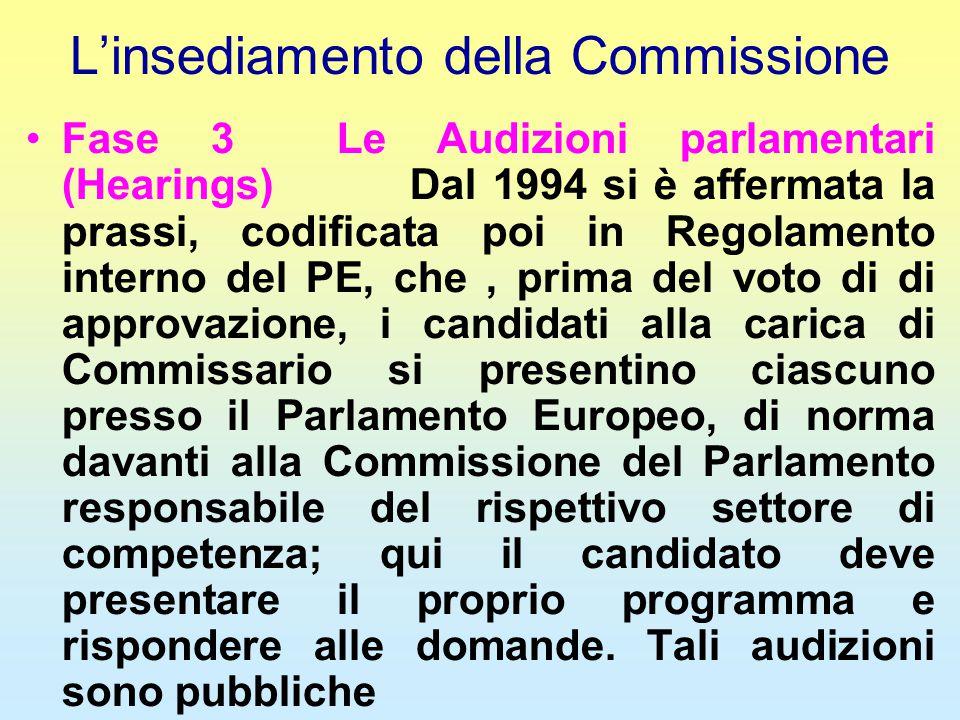 L'insediamento della Commissione Fase 3 Le Audizioni parlamentari (Hearings) Dal 1994 si è affermata la prassi, codificata poi in Regolamento interno