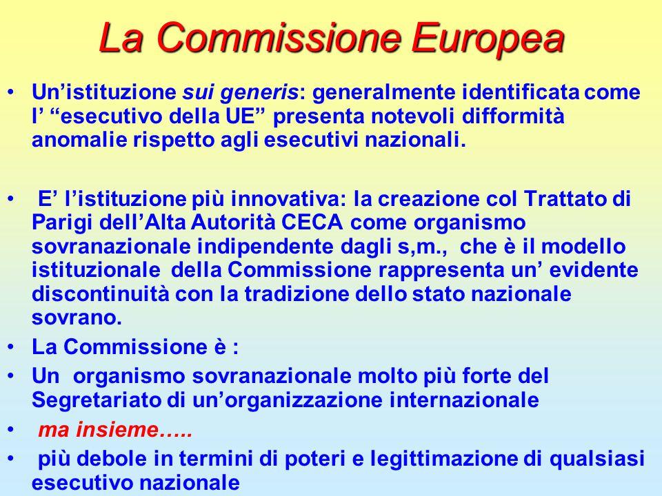 """La Commissione Europea Un'istituzione sui generis: generalmente identificata come l' """"esecutivo della UE"""" presenta notevoli difformità anomalie rispet"""