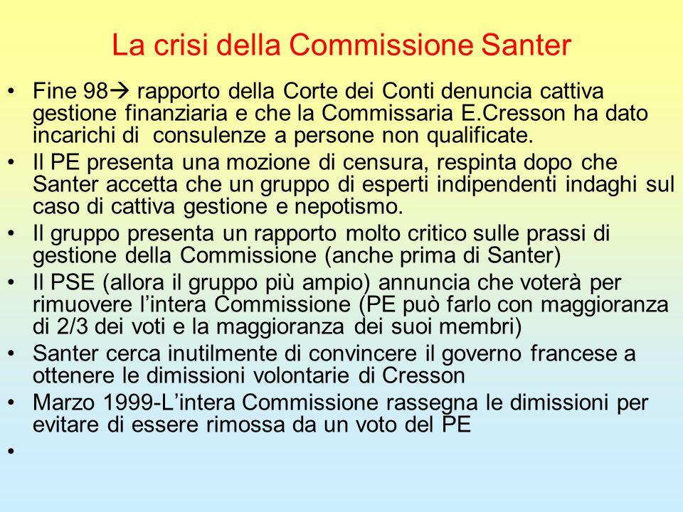 La crisi della Commissione Santer Fine 98  rapporto della Corte dei Conti denuncia cattiva gestione finanziaria e che la Commissaria E.Cresson ha dato incarichi di consulenze a persone non qualificate.