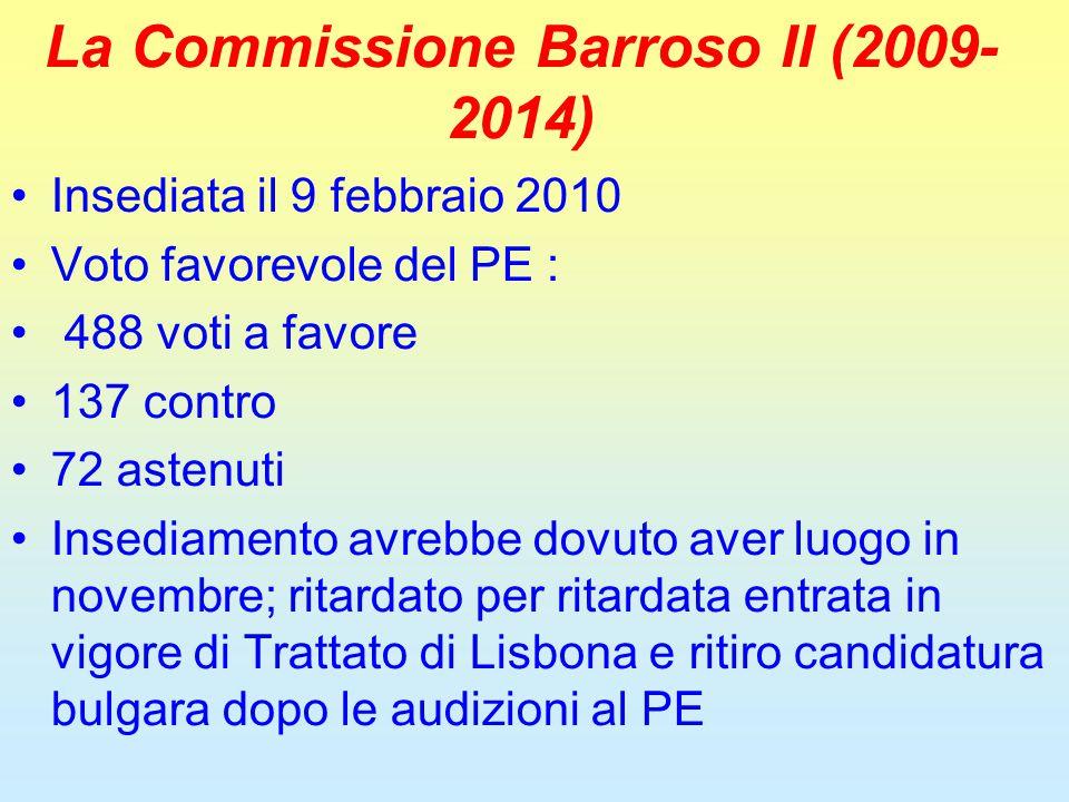 La Commissione Barroso II (2009- 2014) Insediata il 9 febbraio 2010 Voto favorevole del PE : 488 voti a favore 137 contro 72 astenuti Insediamento avrebbe dovuto aver luogo in novembre; ritardato per ritardata entrata in vigore di Trattato di Lisbona e ritiro candidatura bulgara dopo le audizioni al PE