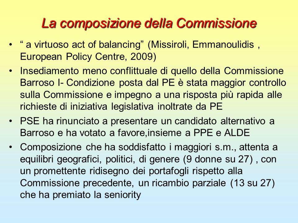 """La composizione della Commissione """" a virtuoso act of balancing"""" (Missiroli, Emmanoulidis, European Policy Centre, 2009) Insediamento meno conflittual"""