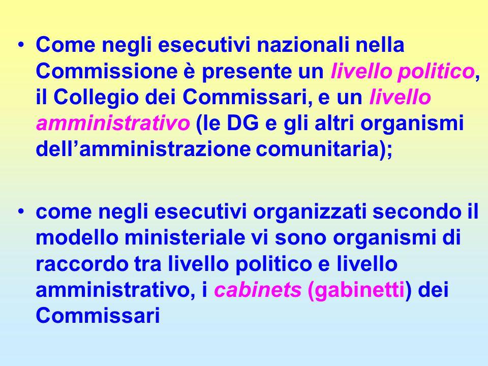 Come negli esecutivi nazionali nella Commissione è presente un livello politico, il Collegio dei Commissari, e un livello amministrativo (le DG e gli