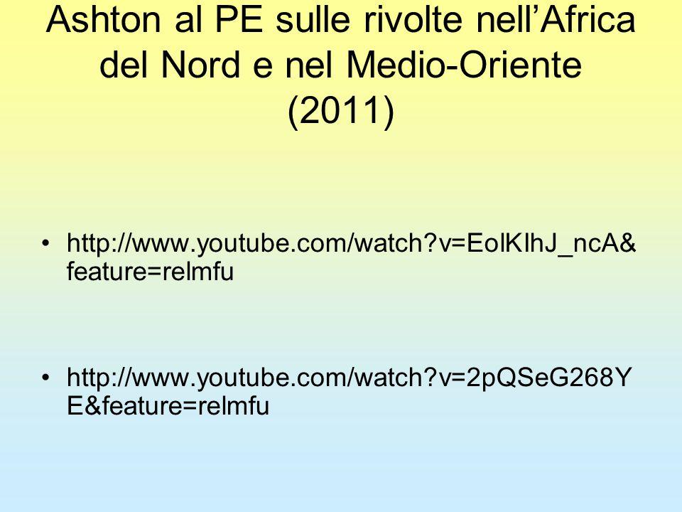 Ashton al PE sulle rivolte nell'Africa del Nord e nel Medio-Oriente (2011) http://www.youtube.com/watch v=EolKIhJ_ncA& feature=relmfu http://www.youtube.com/watch v=2pQSeG268Y E&feature=relmfu