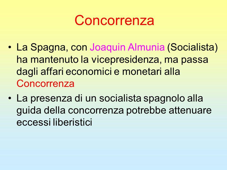 Concorrenza La Spagna, con Joaquin Almunia (Socialista) ha mantenuto la vicepresidenza, ma passa dagli affari economici e monetari alla Concorrenza La presenza di un socialista spagnolo alla guida della concorrenza potrebbe attenuare eccessi liberistici