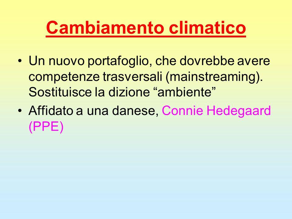 """Cambiamento climatico Un nuovo portafoglio, che dovrebbe avere competenze trasversali (mainstreaming). Sostituisce la dizione """"ambiente"""" Affidato a un"""