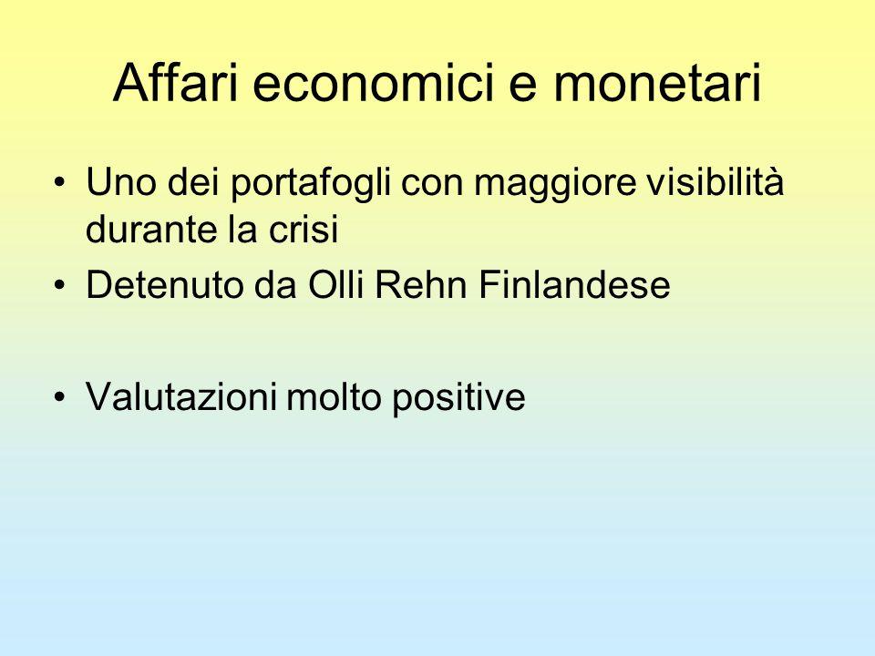Affari economici e monetari Uno dei portafogli con maggiore visibilità durante la crisi Detenuto da Olli Rehn Finlandese Valutazioni molto positive