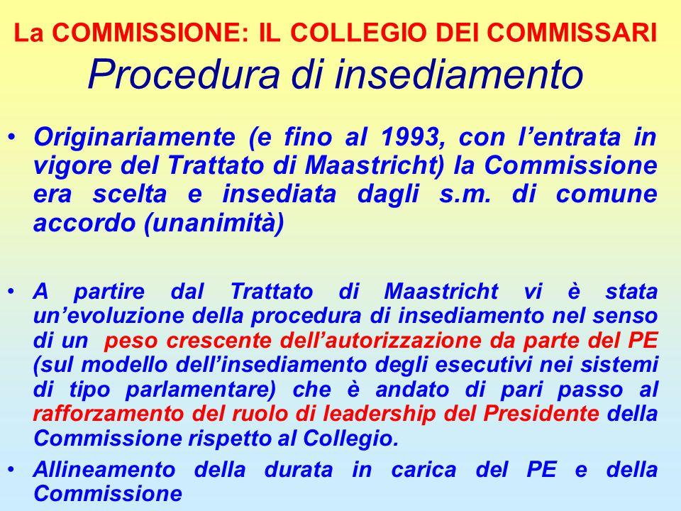 La COMMISSIONE: IL COLLEGIO DEI COMMISSARI Procedura di insediamento Originariamente (e fino al 1993, con l'entrata in vigore del Trattato di Maastric
