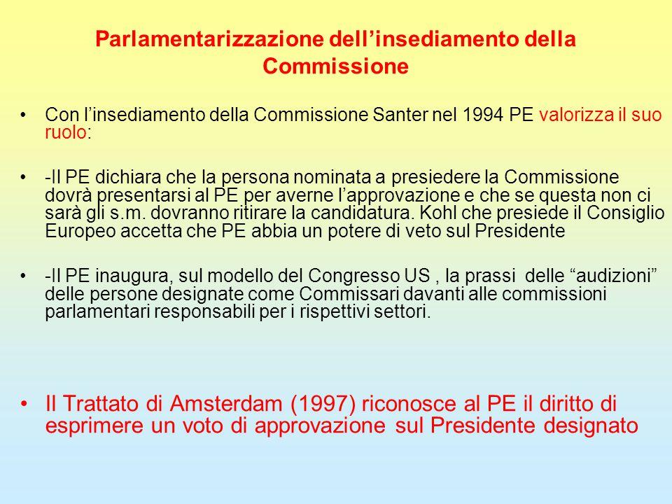 Parlamentarizzazione dell'insediamento della Commissione Con l'insediamento della Commissione Santer nel 1994 PE valorizza il suo ruolo: -Il PE dichiara che la persona nominata a presiedere la Commissione dovrà presentarsi al PE per averne l'approvazione e che se questa non ci sarà gli s.m.