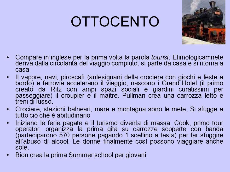 OTTOCENTO Compare in inglese per la prima volta la parola tourist.