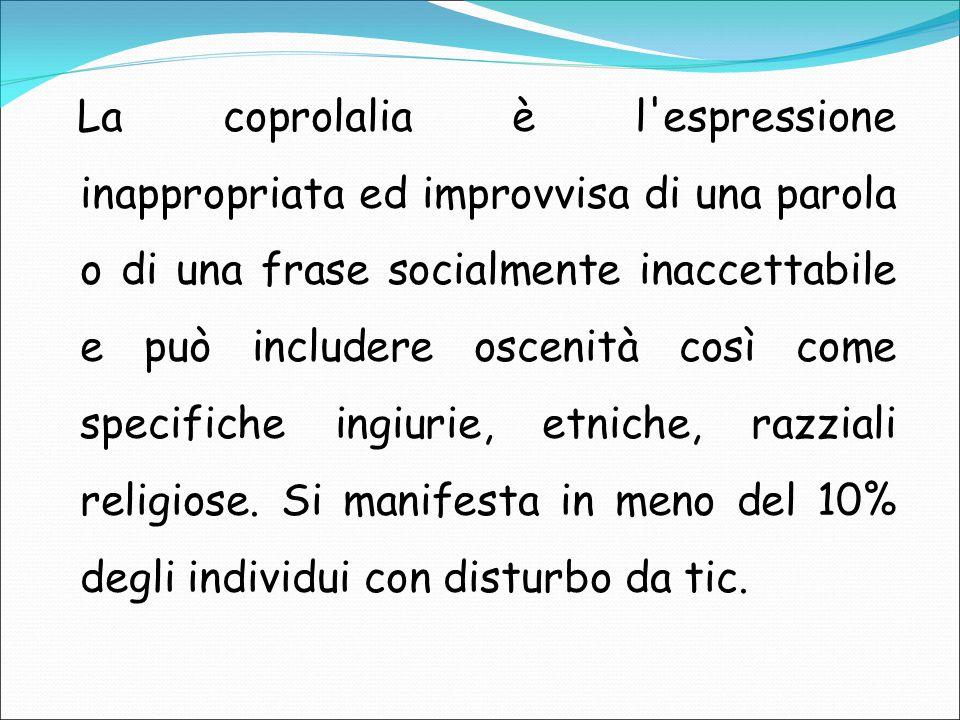 La coprolalia è l'espressione inappropriata ed improvvisa di una parola o di una frase socialmente inaccettabile e può includere oscenità così come sp