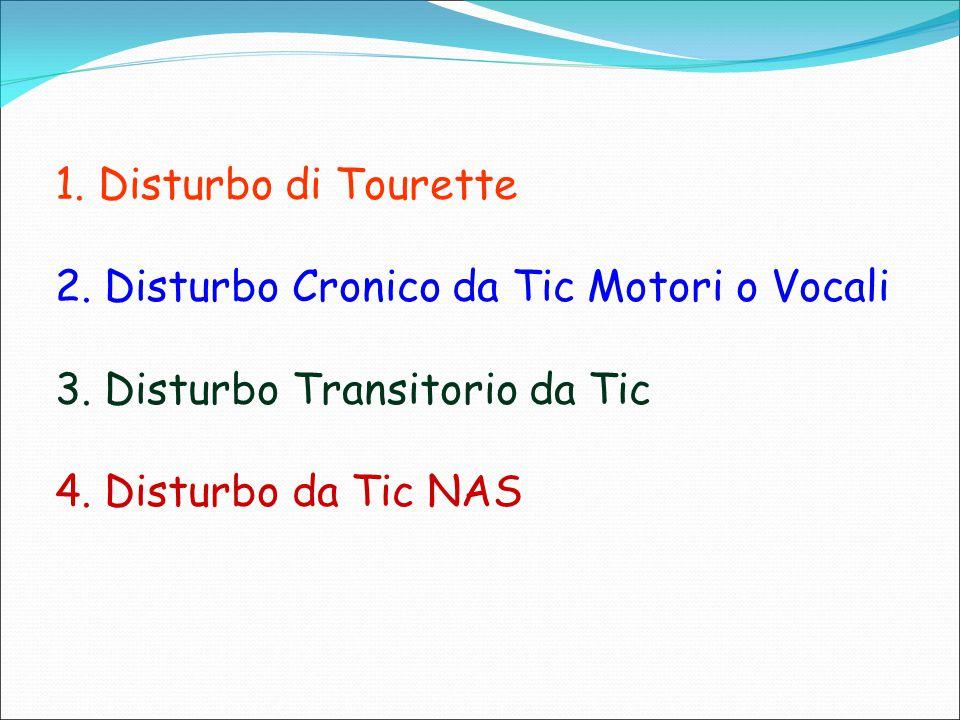 1. Disturbo di Tourette 2. Disturbo Cronico da Tic Motori o Vocali 3. Disturbo Transitorio da Tic 4. Disturbo da Tic NAS