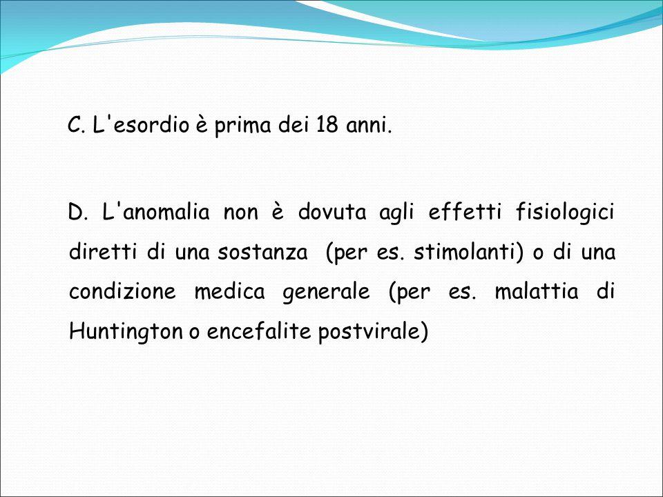 C. L'esordio è prima dei 18 anni. D. L'anomalia non è dovuta agli effetti fisiologici diretti di una sostanza (per es. stimolanti) o di una condizione