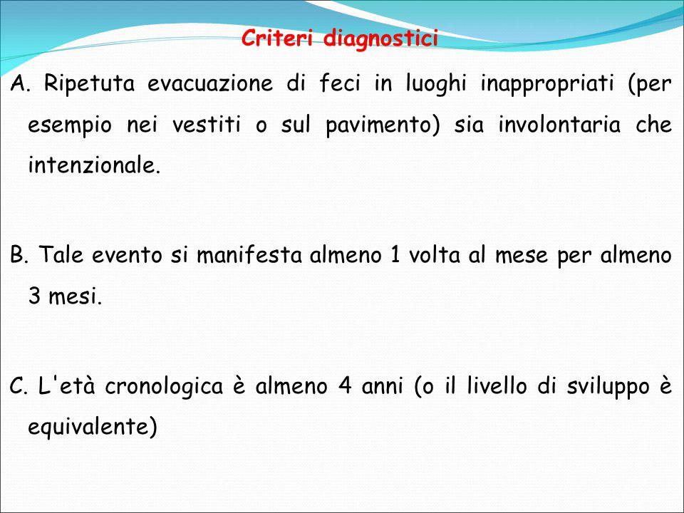 Criteri diagnostici A. Ripetuta evacuazione di feci in luoghi inappropriati (per esempio nei vestiti o sul pavimento) sia involontaria che intenzional