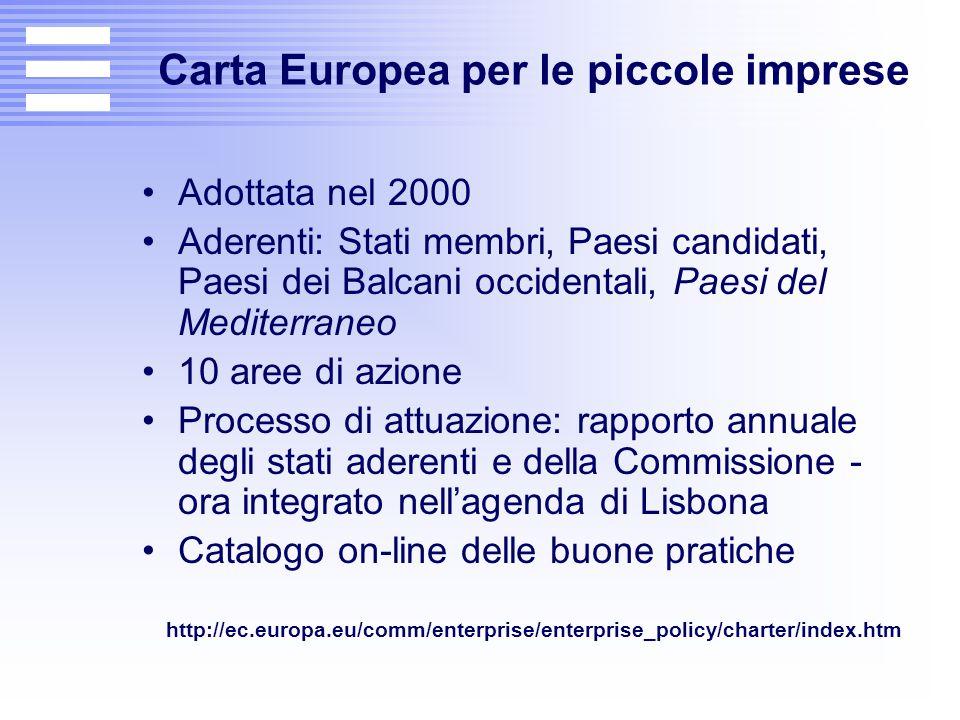 Carta Europea per le piccole imprese Adottata nel 2000 Aderenti: Stati membri, Paesi candidati, Paesi dei Balcani occidentali, Paesi del Mediterraneo