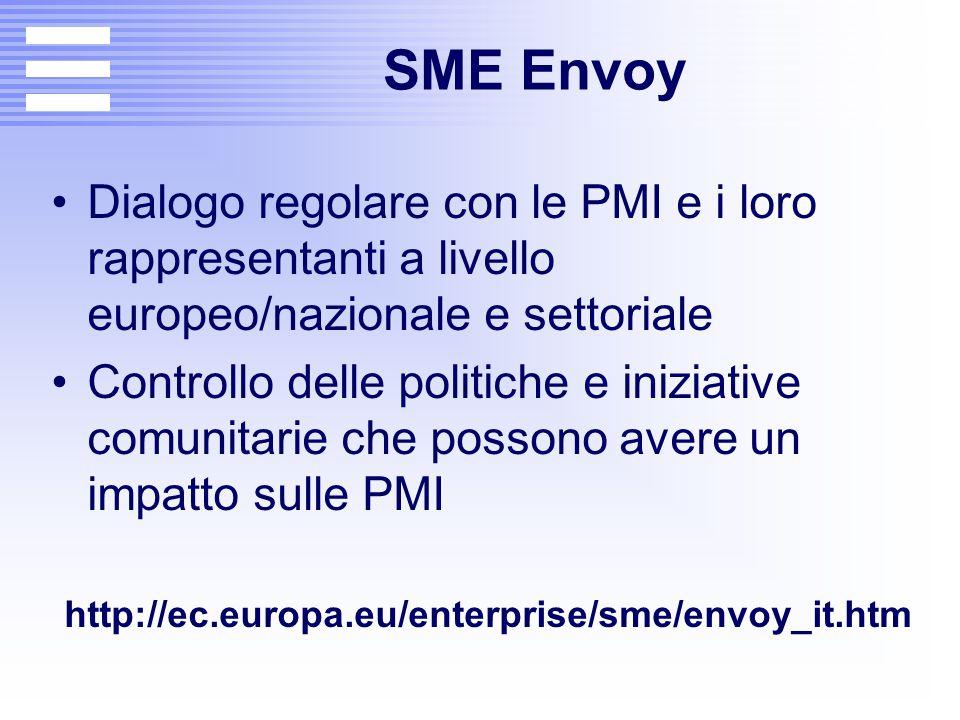 SME Envoy Dialogo regolare con le PMI e i loro rappresentanti a livello europeo/nazionale e settoriale Controllo delle politiche e iniziative comunita