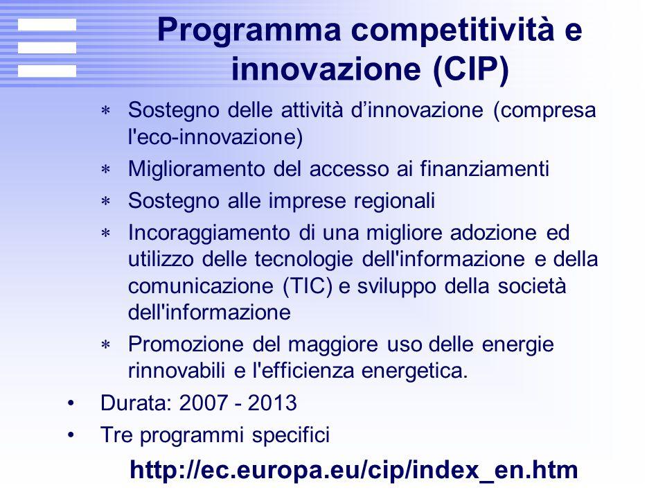 Programma competitività e innovazione (CIP)  Sostegno delle attività d'innovazione (compresa l'eco-innovazione)  Miglioramento del accesso ai finanz