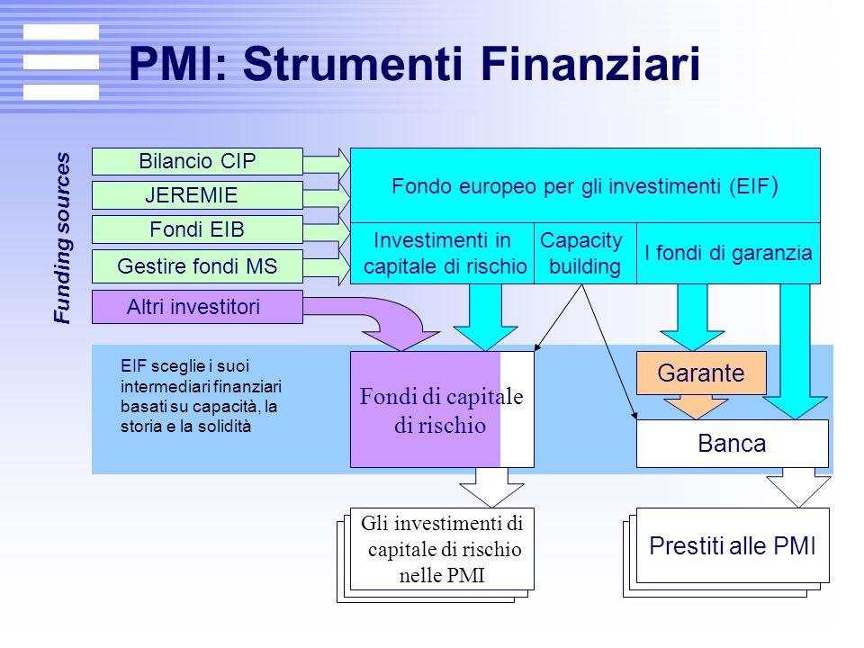 PMI: Strumenti Finanziari Funding sources Fondo europeo per gli investimenti (EIF ) Gli investimenti di capitale di rischio nelle PMI Prestiti alle PM