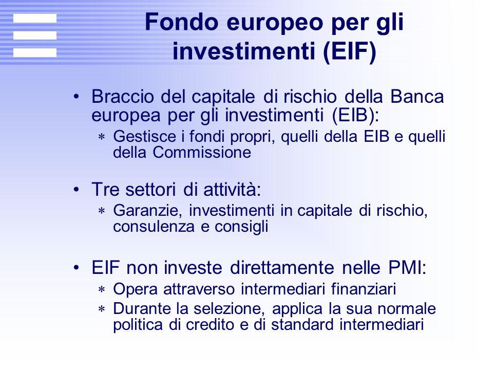 Fondo europeo per gli investimenti (EIF) Braccio del capitale di rischio della Banca europea per gli investimenti (EIB):  Gestisce i fondi propri, qu
