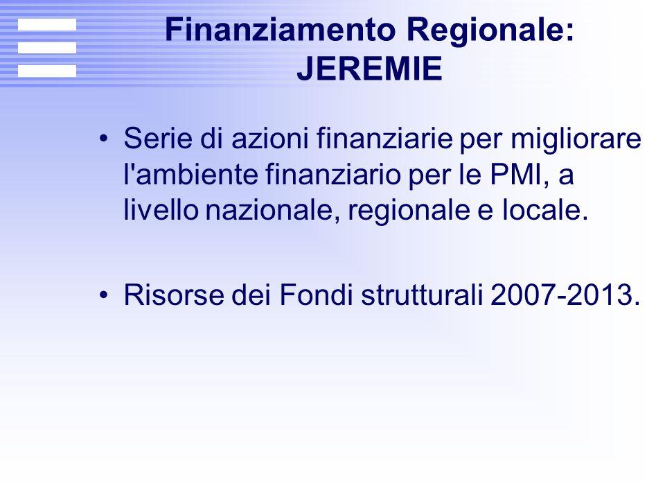 Finanziamento Regionale: JEREMIE Serie di azioni finanziarie per migliorare l'ambiente finanziario per le PMI, a livello nazionale, regionale e locale