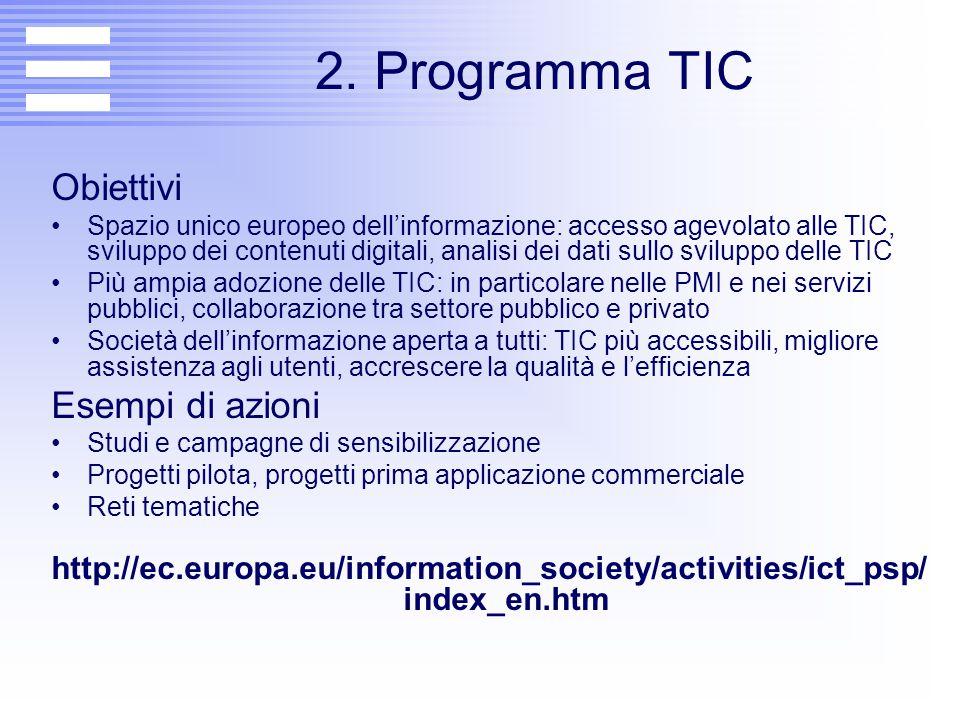2. Programma TIC Obiettivi Spazio unico europeo dell'informazione: accesso agevolato alle TIC, sviluppo dei contenuti digitali, analisi dei dati sullo