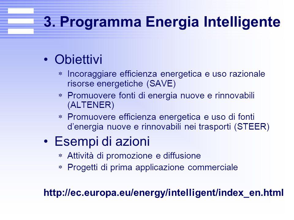 3. Programma Energia Intelligente Obiettivi  Incoraggiare efficienza energetica e uso razionale risorse energetiche (SAVE)  Promuovere fonti di ener