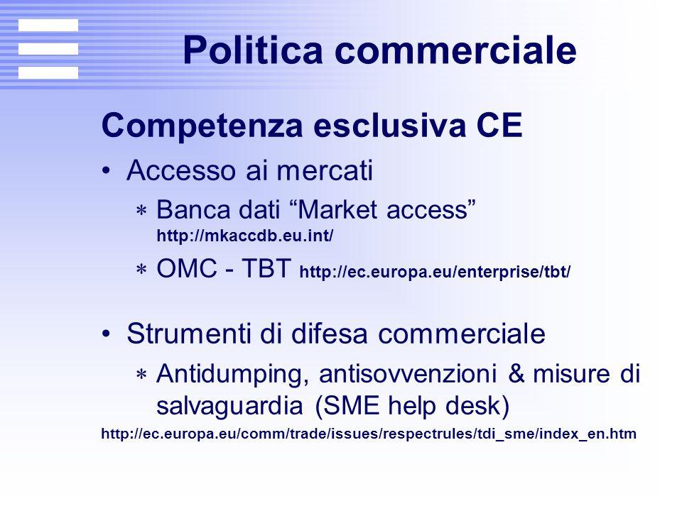 "Politica commerciale Competenza esclusiva CE Accesso ai mercati  Banca dati ""Market access"" http://mkaccdb.eu.int/  OMC - TBT http://ec.europa.eu/en"