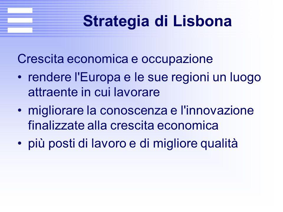 Strategia di Lisbona Crescita economica e occupazione rendere l'Europa e le sue regioni un luogo attraente in cui lavorare migliorare la conoscenza e