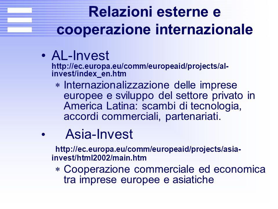 Relazioni esterne e cooperazione internazionale AL-Invest http://ec.europa.eu/comm/europeaid/projects/al- invest/index_en.htm  Internazionalizzazione