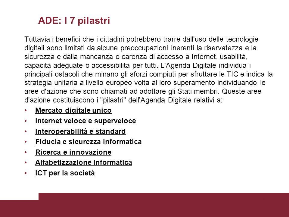 ADE: I 7 pilastri Tuttavia i benefici che i cittadini potrebbero trarre dall'uso delle tecnologie digitali sono limitati da alcune preoccupazioni iner