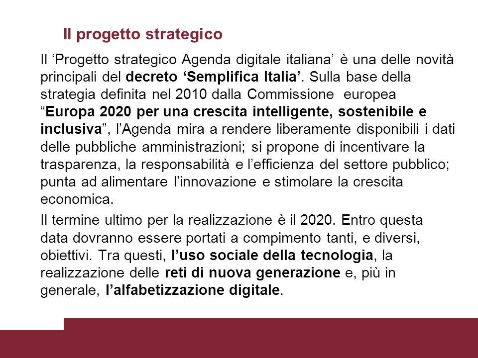 Il progetto strategico Il 'Progetto strategico Agenda digitale italiana' è una delle novità principali del decreto 'Semplifica Italia'. Sulla base del