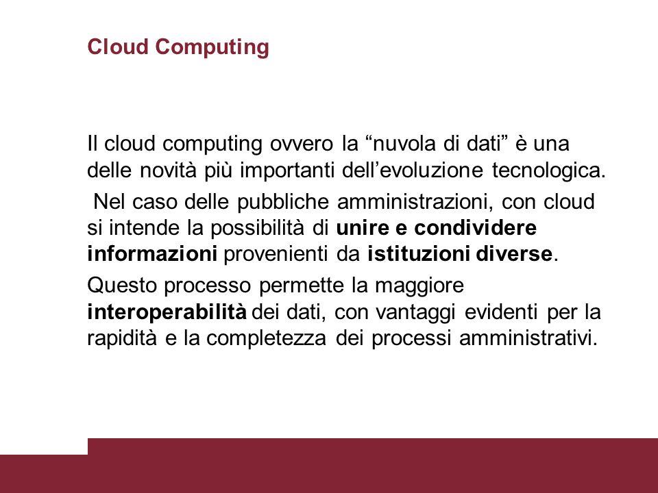 """Cloud Computing Il cloud computing ovvero la """"nuvola di dati"""" è una delle novità più importanti dell'evoluzione tecnologica. Nel caso delle pubbliche"""