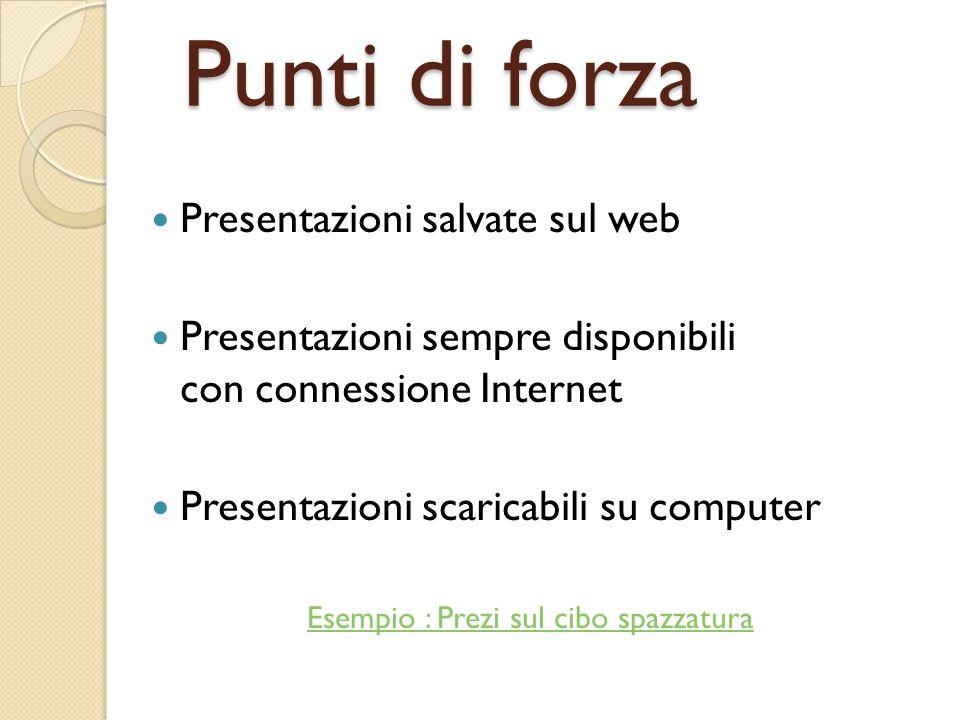 Punti di forza Presentazioni salvate sul web Presentazioni sempre disponibili con connessione Internet Presentazioni scaricabili su computer Esempio :