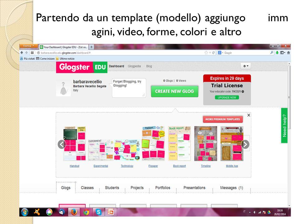 Partendo da un template (modello) aggiungo imm agini, video, forme, colori e altro
