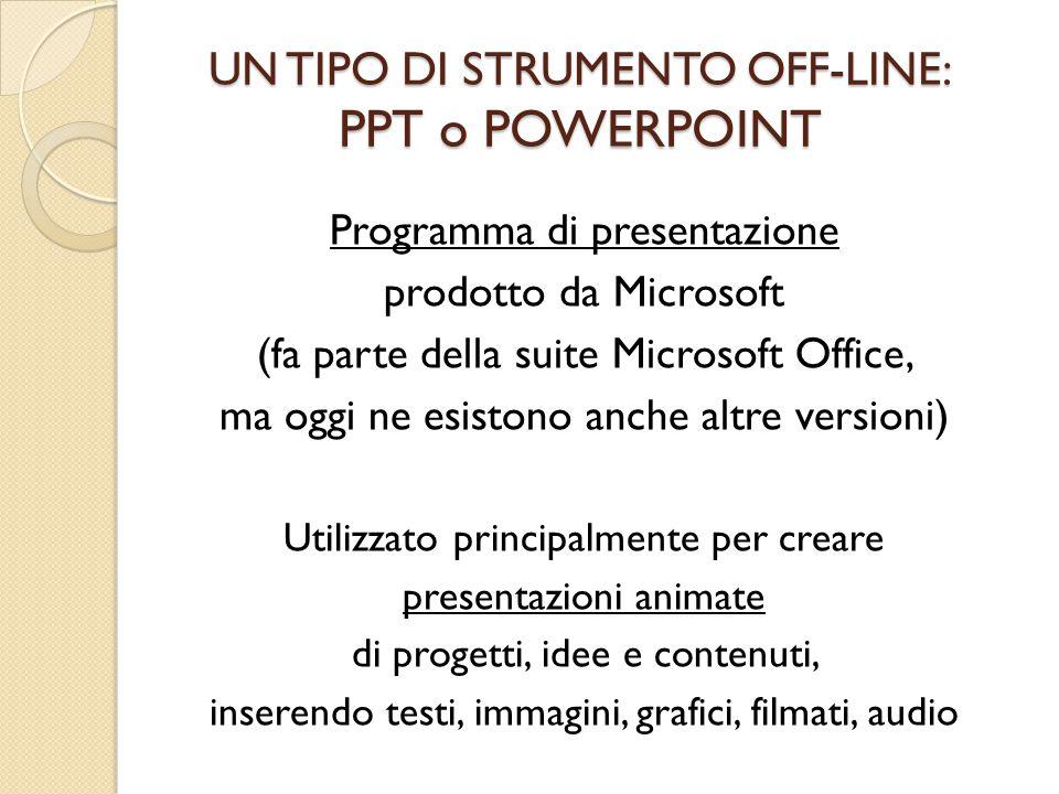 UN TIPO DI STRUMENTO OFF-LINE: PPT o POWERPOINT Programma di presentazione prodotto da Microsoft (fa parte della suite Microsoft Office, ma oggi ne es