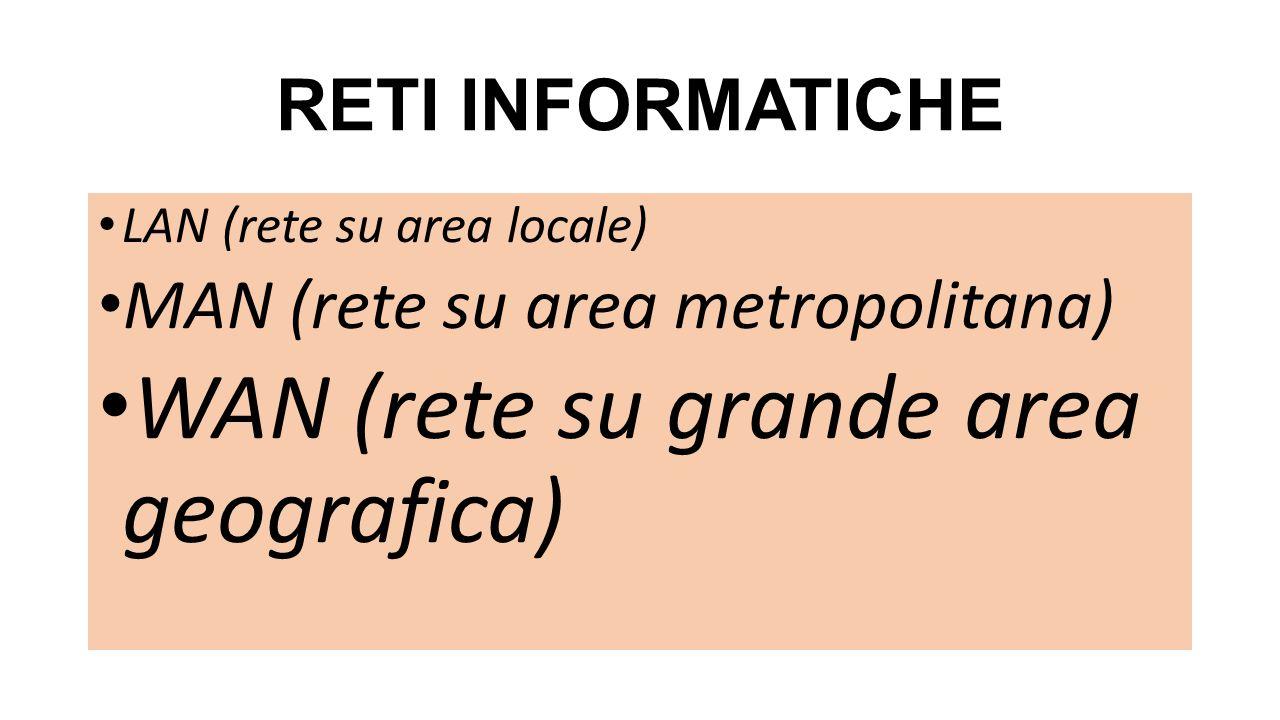 RETI INFORMATICHE LAN (rete su area locale) MAN (rete su area metropolitana) WAN (rete su grande area geografica)