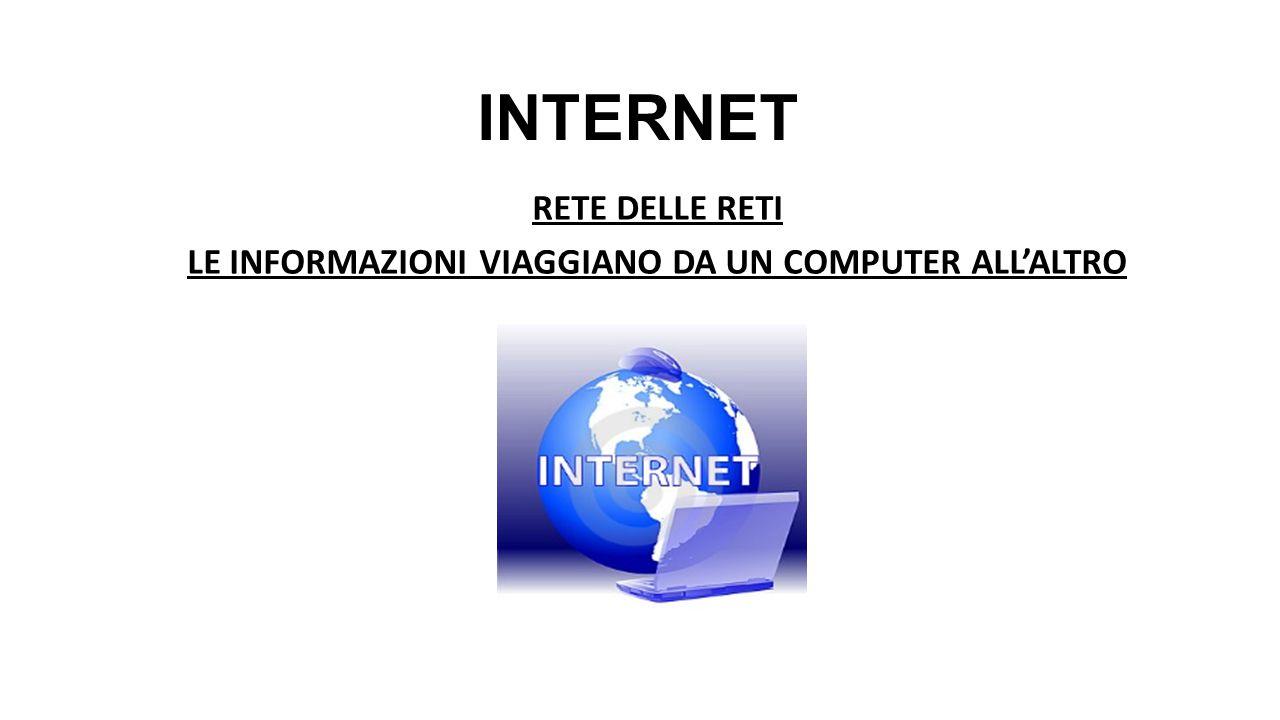 INTERNET RETE DELLE RETI LE INFORMAZIONI VIAGGIANO DA UN COMPUTER ALL'ALTRO