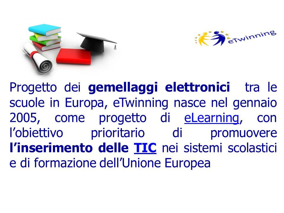 Progetto dei gemellaggi elettronici tra le scuole in Europa, eTwinning nasce nel gennaio 2005, come progetto di eLearning, con l'obiettivo prioritario di promuovere l'inserimento delle TIC nei sistemi scolastici e di formazione dell'Unione EuropeaeLearningTIC