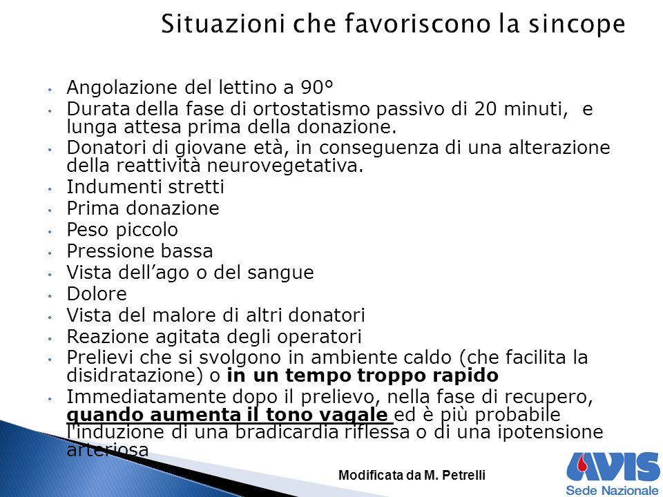 Angolazione del lettino a 90° Durata della fase di ortostatismo passivo di 20 minuti, e lunga attesa prima della donazione.