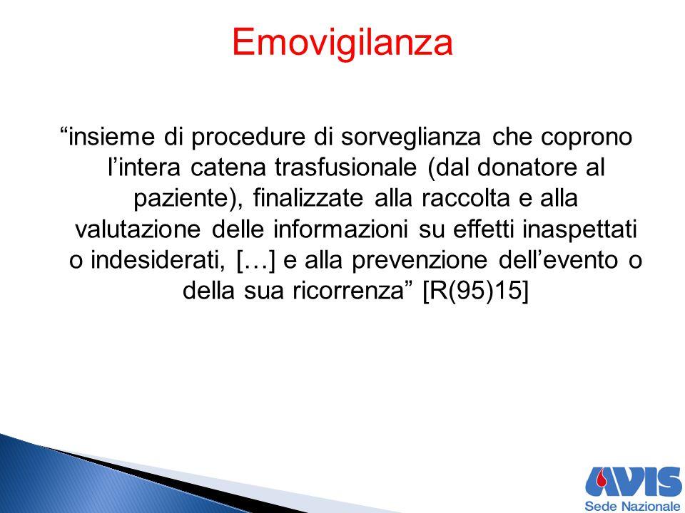 """""""insieme di procedure di sorveglianza che coprono l'intera catena trasfusionale (dal donatore al paziente), finalizzate alla raccolta e alla valutazio"""