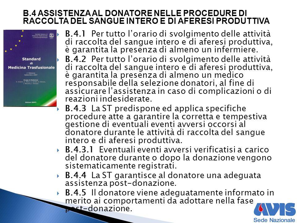  B.4.1 Per tutto l'orario di svolgimento delle attività di raccolta del sangue intero e di aferesi produttiva, è garantita la presenza di almeno un i