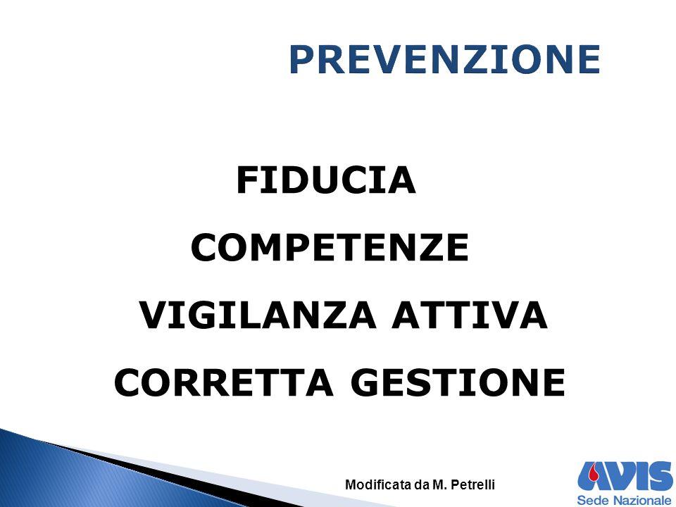 FIDUCIA COMPETENZE VIGILANZA ATTIVA CORRETTA GESTIONE Modificata da M. Petrelli