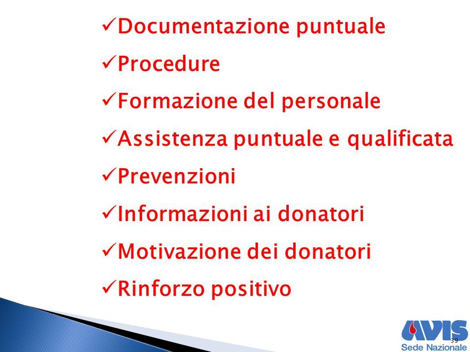 39 Documentazione puntuale Procedure Formazione del personale Assistenza puntuale e qualificata Prevenzioni Informazioni ai donatori Motivazione dei donatori Rinforzo positivo