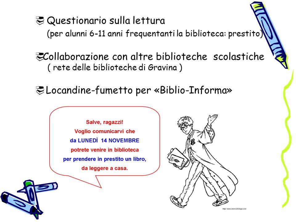  Questionario sulla lettura (per alunni 6-11 anni frequentanti la biblioteca: prestito)  Collaborazione con altre biblioteche scolastiche ( rete delle biblioteche di Gravina )  Locandine-fumetto per «Biblio-Informa»