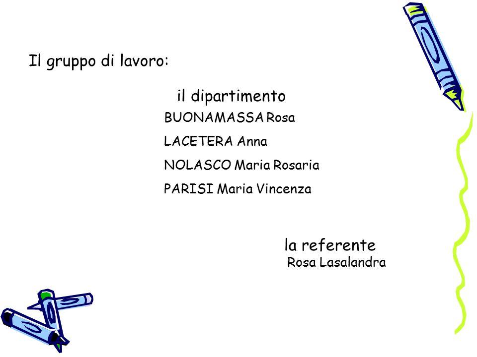 Il gruppo di lavoro: il dipartimento BUONAMASSA Rosa LACETERA Anna NOLASCO Maria Rosaria PARISI Maria Vincenza la referente Rosa Lasalandra