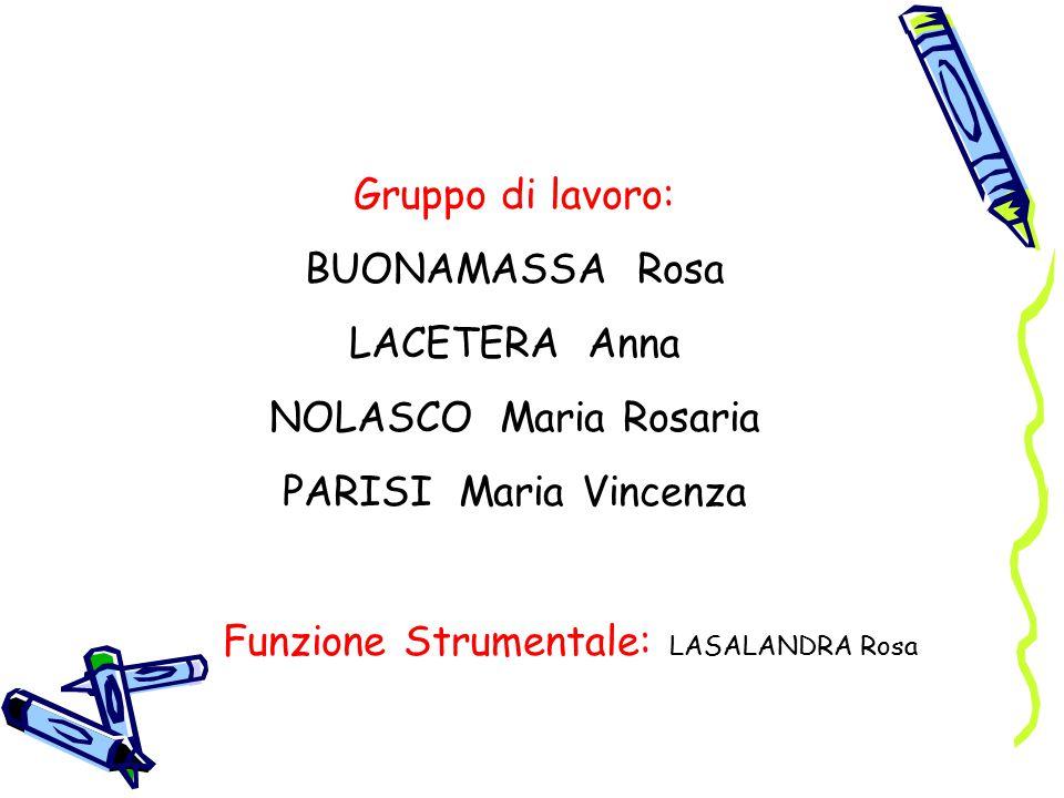 Gruppo di lavoro: BUONAMASSA Rosa LACETERA Anna NOLASCO Maria Rosaria PARISI Maria Vincenza Funzione Strumentale: LASALANDRA Rosa
