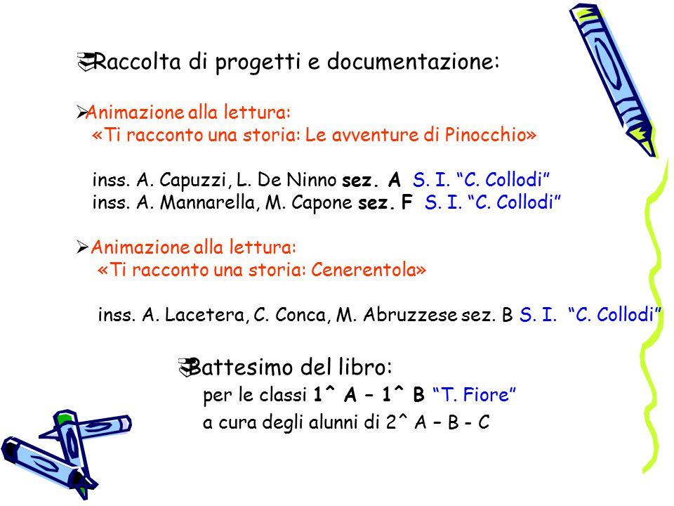  Raccolta di progetti e documentazione:  Animazione alla lettura: «Ti racconto una storia: Le avventure di Pinocchio» inss.