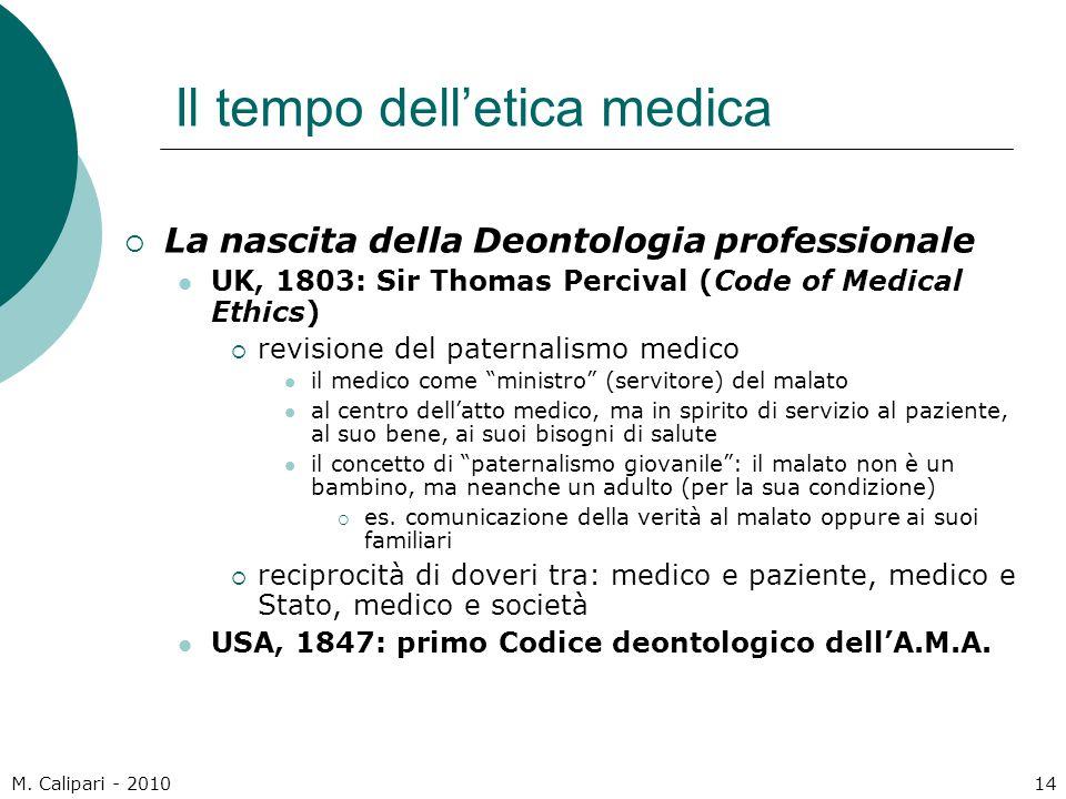 M. Calipari - 201014 Il tempo dell'etica medica  La nascita della Deontologia professionale UK, 1803: Sir Thomas Percival (Code of Medical Ethics) 