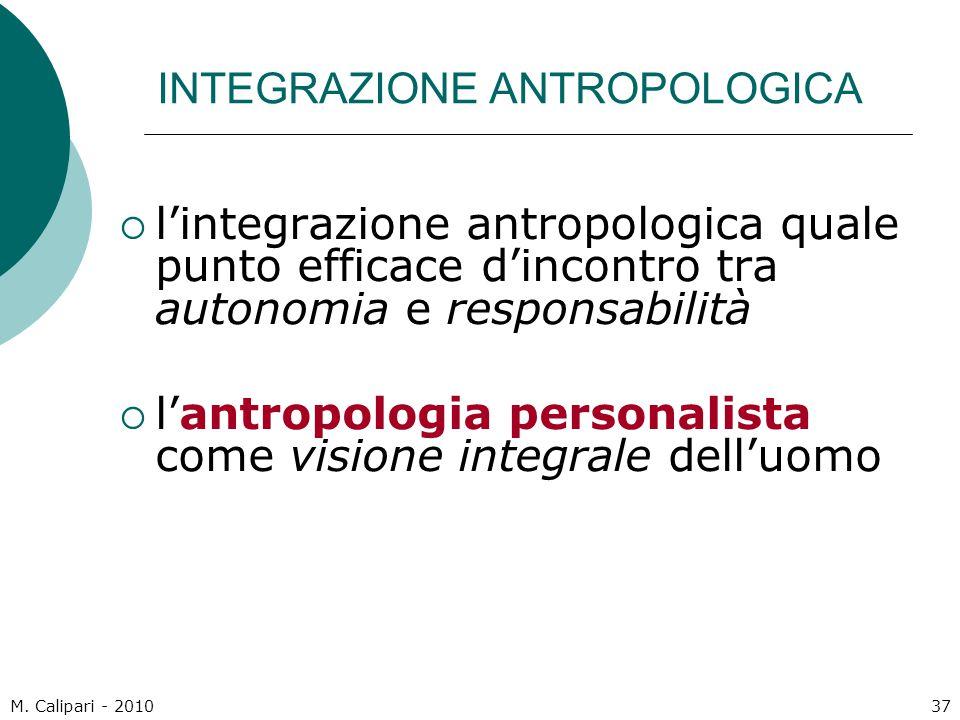 M. Calipari - 201037 INTEGRAZIONE ANTROPOLOGICA  l'integrazione antropologica quale punto efficace d'incontro tra autonomia e responsabilità  l'antr