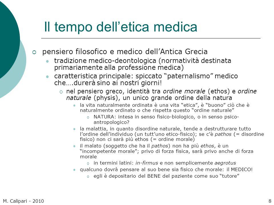 M. Calipari - 20108 Il tempo dell'etica medica  pensiero filosofico e medico dell'Antica Grecia tradizione medico-deontologica (normatività destinata